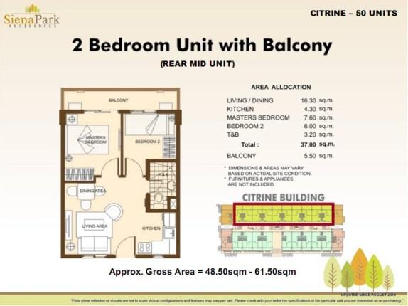Siena 2 Bedroom Rear Mid Unit