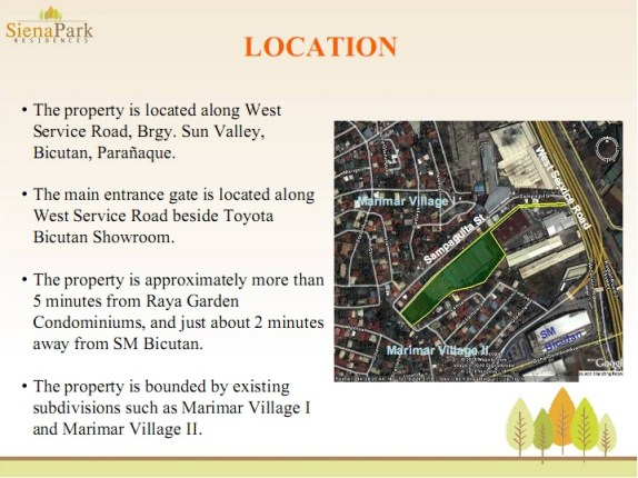Siena Park Residences Location