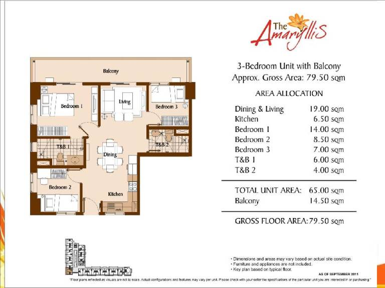 the amaryllis Unit Layouts And Computations 2 bedroom 79.5 sqm