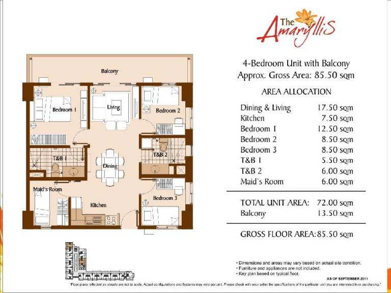 the amaryllis Unit Layouts And Computations 2 bedroom 85.5 sqm