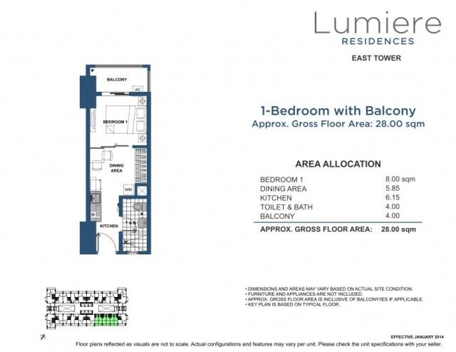 Lumiere Residences 28sqm+ET+1BR