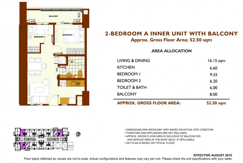 Fairway Terraces 2 Bedroom A Layout