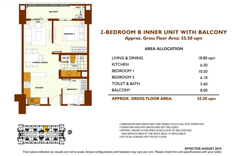 Fairway Terraces 2 Bedroom B Layout