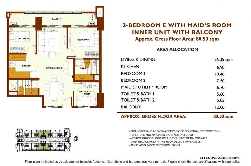 Fairway Terraces 2 Bedroom E Layout