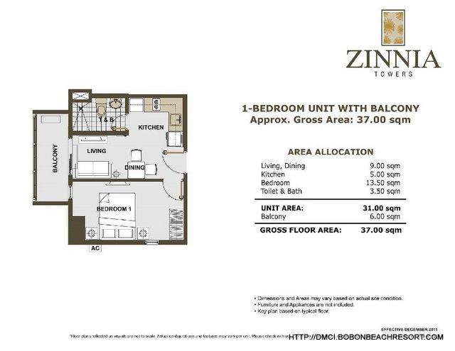 Zinnia Towers 1 Bedroom with Balcony Big