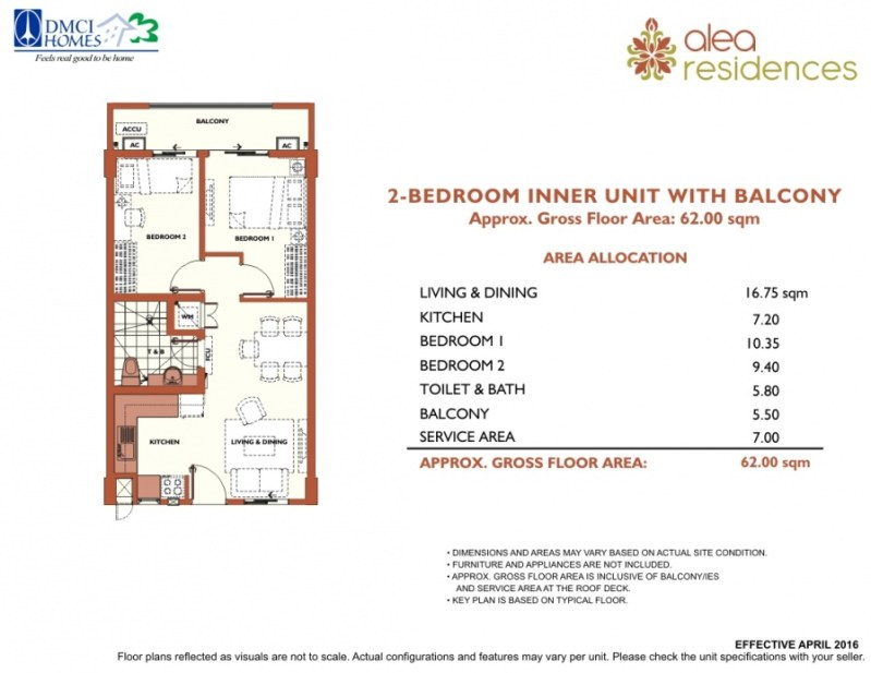 Alea Residences 2 Bedroom Layout
