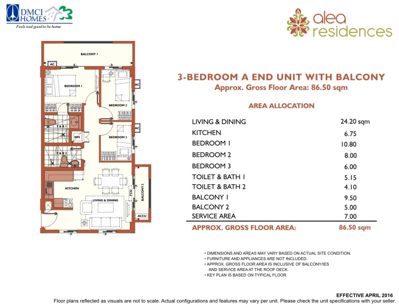 Alea Residences 3 Bedroom Layout