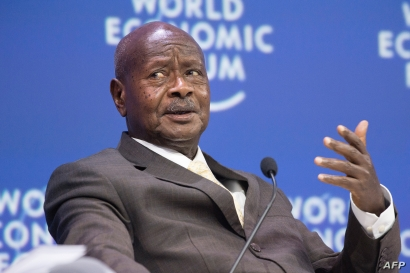 FILE - Yoweri Museveni, who has been president of Uganda since 1986, speaks during the World Economic Forum (WEF) Africa meeting at the Cape Town International Convention Centre, Sept. 4, 2019.