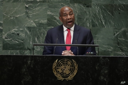 Uganda's Prime Minister Ruhakana Rugunda addresses the 73rd session of the United Nations General Assembly, Sept. 27, 2018, at the United Nations headquarters.