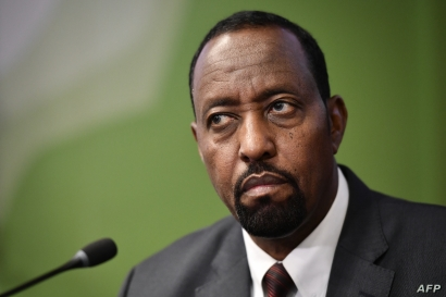 Universal Postal Union (UPU) Director General Bishar Hussein attends a press conference during an extraordinary congress of the UPU in Geneva, Sept. 24, 2019.