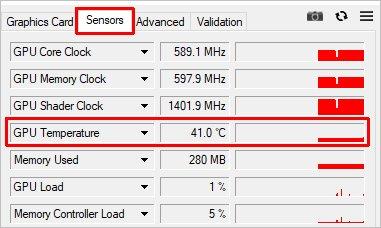 GPU-Z бағдарламасындағы бейне картаның температурасы