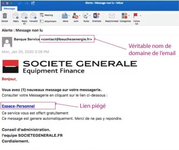 exemple d'une attaque par phishing