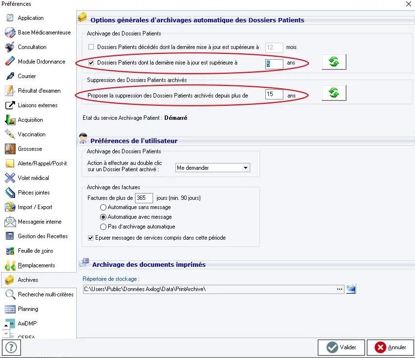 interface axisanté paramétrage d'archivage des données sous forme anonymisée