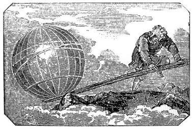 Dibujo antiguo en blanco y negro representando a Arquímedes moviendo el mundo. Imagen de Wikipedia Commons.