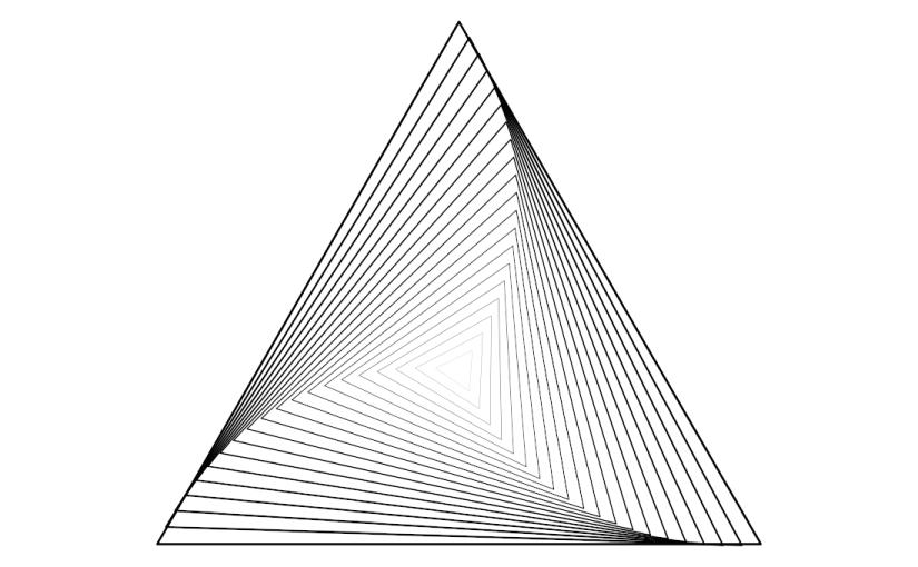 Triángulos equiláteros concéntricos y crecientes mientras giran.