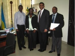 DMU's Dr. Yogesh Shah, third from the left, with KHI staff on the day of his arrival in Kigali