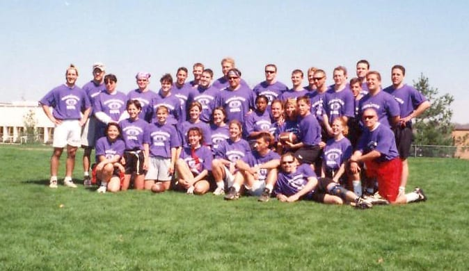 "'Move over, Thoractic Bowl' (The Innominate) Above, both UOMHS women's and men's teams won the first Malpractice Bowl in 1998. ""At the last minute, the administration gave us t-shirts,"" recalls Katie Nelson Martin, D.O.'00. ""I think they wanted us to class it up a bit."""