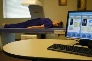 A patient receives a body composition analysis