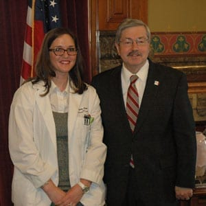 Cynthia Hoque, D.O. '14, was awarded a scholarship by Governor Terry Branstad