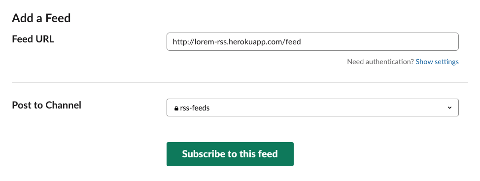 Add an RSS Feed to Slack