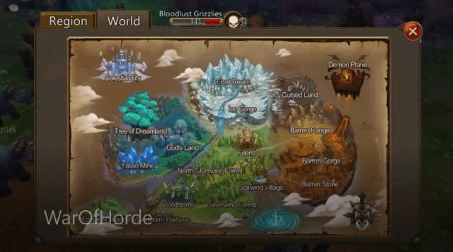 War of Horde mappa del mondo