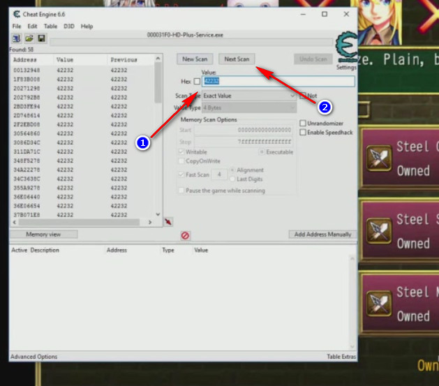 Cheat Engine Fairy Elements avvio ricerca