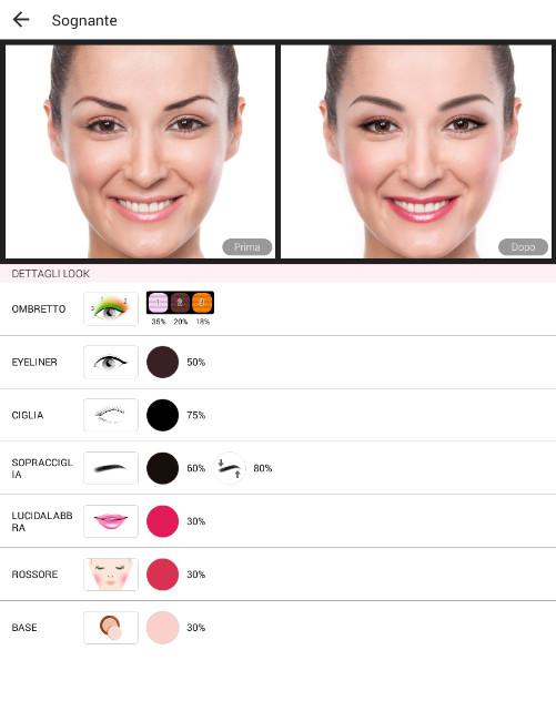 YouCam Makeup applicazione dei look predefiniti