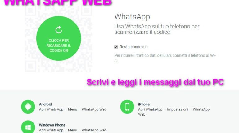 WhatsApp Web applicazione online per PC