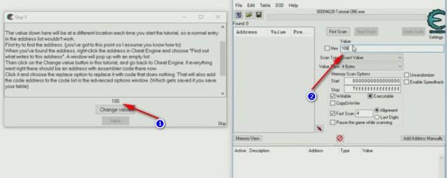 Cheat Engine Tutorial Code Finder tutorial passo 5 avvio ricerca
