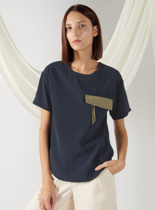top with flap pocket in midnight blue
