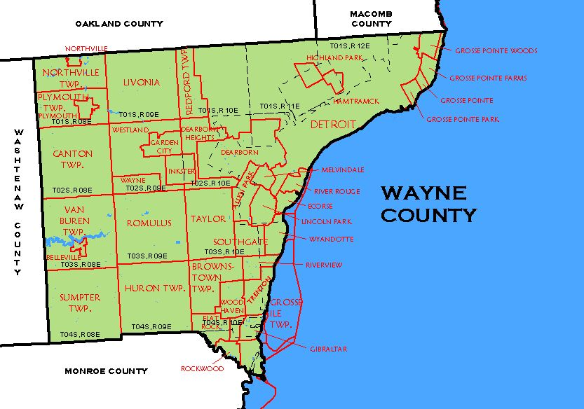 Michigan Wayne County Every County - Map of michigan counties and cities