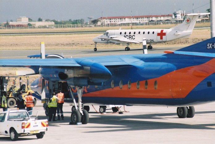 """""""5X-FFD Fokker F-27-500F Friendship (cn 10530) Fly540."""" by ATom.UK is licensed under CC BY-SA 2.0"""