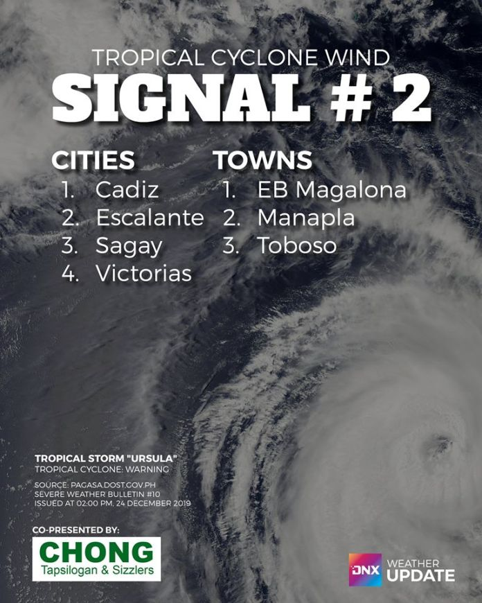 Towns and cities under signal #2 in Negros Occidental as typhoon Ursula barrels into Eastern Visayas. Source: PAGASA
