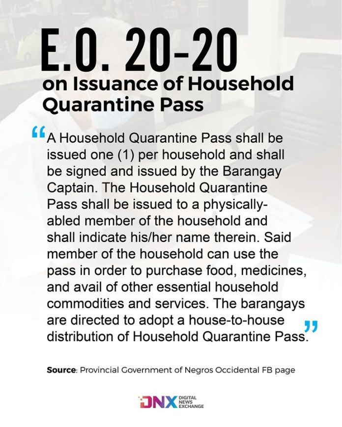 Section 5 of E.O. 20-20 on the issuance of Household Quarantine Pass to be distributed by barangays. |  Graphic by Richard D. Meriveles