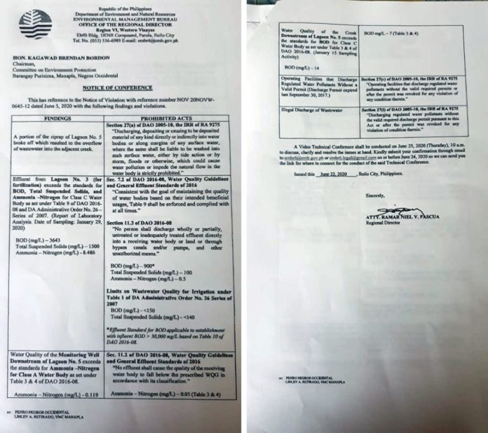 The notice of conference issued by the EMB regional director and the findings of the body that found violations committed by Vicmico.   Photos courtesy of Rodel Evidente
