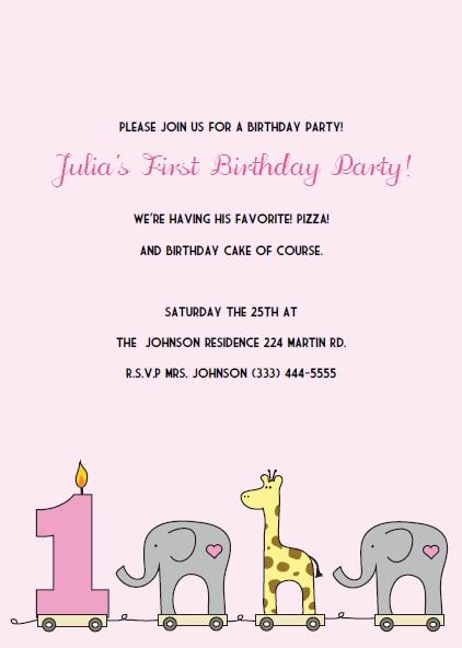 Printable 1st Birthday Invitations Elephant And Giraffe