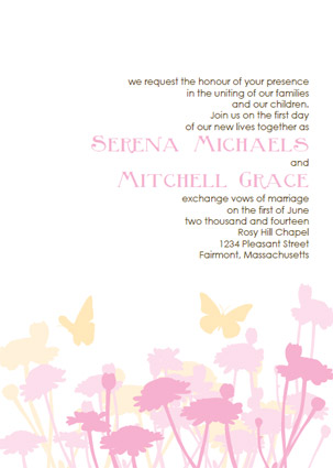 Pink And Orange Yellow Wedding Invitations