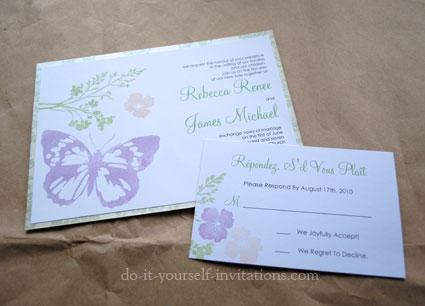 Erfly Kisses Wedding Day Invitation