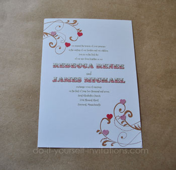 DIY Heart Wedding Invitations Heart Valentines And Love Themes