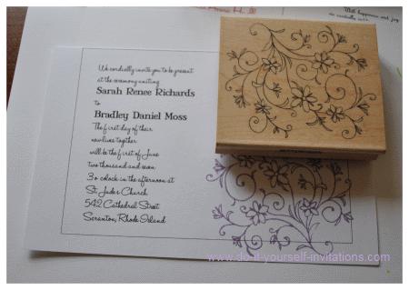 Custom Rubber Stamp Swirl Diy Rsvp Wedding Invitations Stationery Stamper Fl