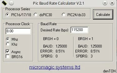 Baud rate a 115200 • Do bit Ao Byte