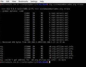 dig sistemasembarcados.org +trace | Servidor DNS