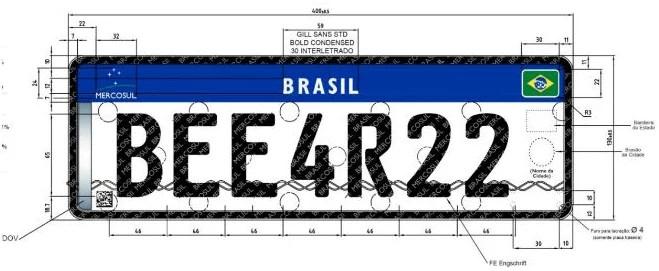 Nova placa Brasil Mercosul