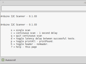 Menu do scanner I²C