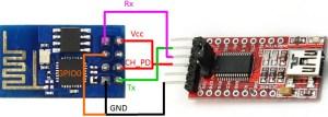 wiring do ESP-01 com FTDI | Adaptador para ESP-01
