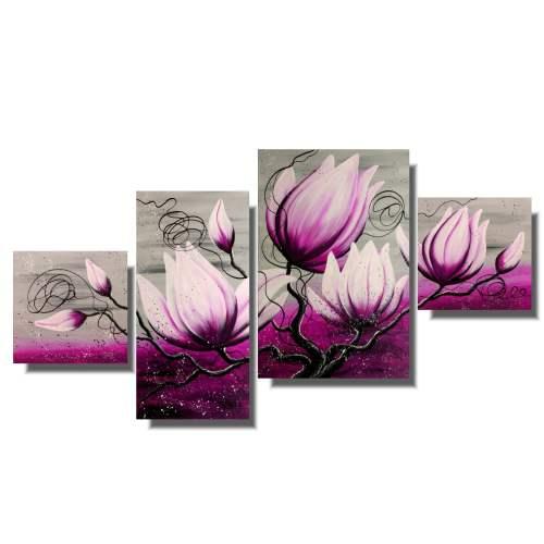 Malarstwo współczesne obraz kwiaty różowa magnolia