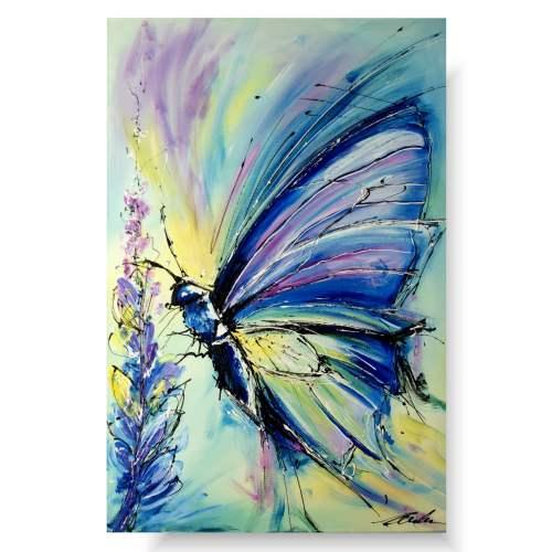 Obrazy zwierzęta pastelowy motyl