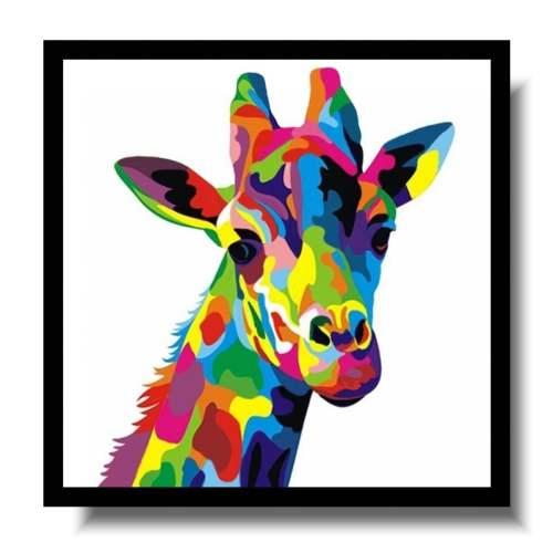 Obraz kolorowa żyrafa obrazy ze zwierzętami ręcznie malowane 1639A