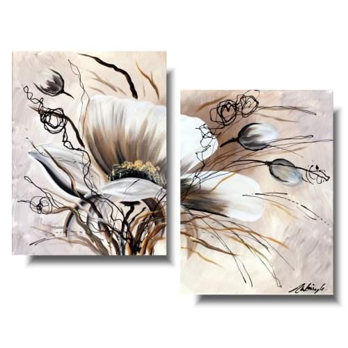 Obraz kwiaty delikatne beżowe maki