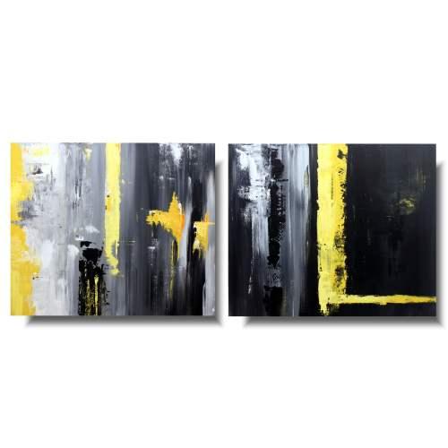 Nowoczesny obraz abstrakcja żółty błysk